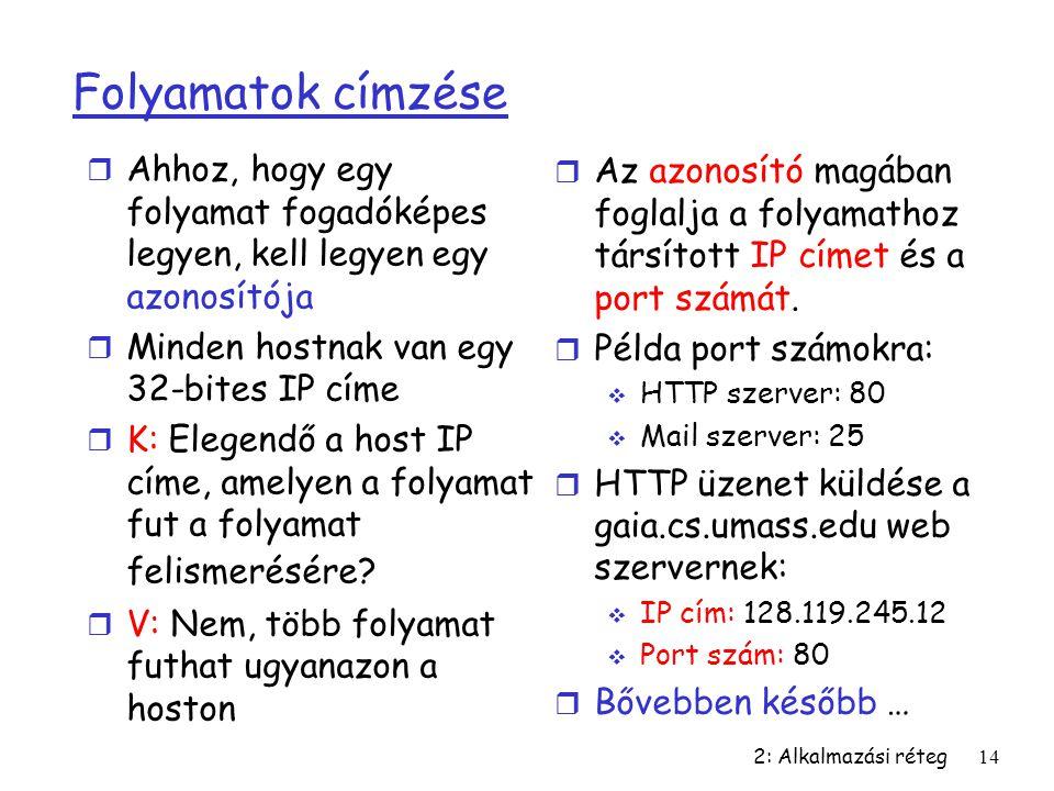 2: Alkalmazási réteg14 Folyamatok címzése r Ahhoz, hogy egy folyamat fogadóképes legyen, kell legyen egy azonosítója r Minden hostnak van egy 32-bites