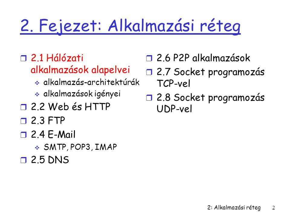 2: Alkalmazási réteg2 2. Fejezet: Alkalmazási réteg r 2.1 Hálózati alkalmazások alapelvei  alkalmazás-architektúrák  alkalmazások igényei r 2.2 Web