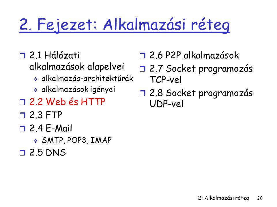 2: Alkalmazási réteg20 2. Fejezet: Alkalmazási réteg r 2.1 Hálózati alkalmazások alapelvei  alkalmazás-architektúrák  alkalmazások igényei r 2.2 Web
