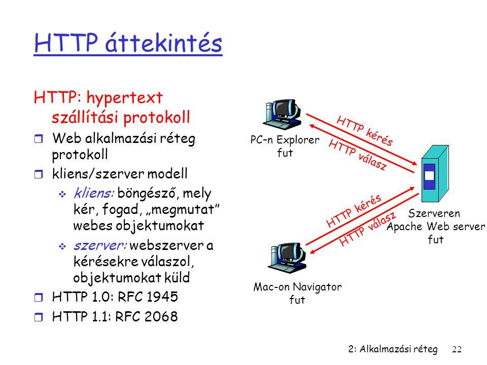 2: Alkalmazási réteg22 HTTP áttekintés HTTP: hypertext szállítási protokoll r Web alkalmazási réteg protokoll r kliens/szerver modell  kliens: böngés