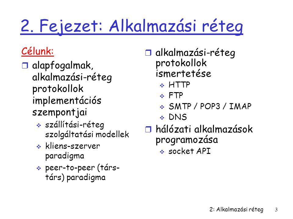 2: Alkalmazási réteg3 2. Fejezet: Alkalmazási réteg Célunk: r alapfogalmak, alkalmazási-réteg protokollok implementációs szempontjai  szállítási-réte