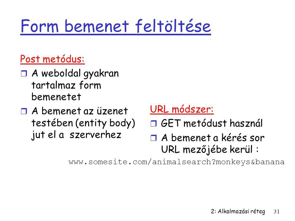 2: Alkalmazási réteg31 Form bemenet feltöltése Post metódus: r A weboldal gyakran tartalmaz form bemenetet r A bemenet az üzenet testében (entity body