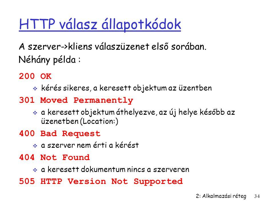 2: Alkalmazási réteg34 HTTP válasz állapotkódok 200 OK  kérés sikeres, a keresett objektum az üzentben 301 Moved Permanently  a keresett objektum át