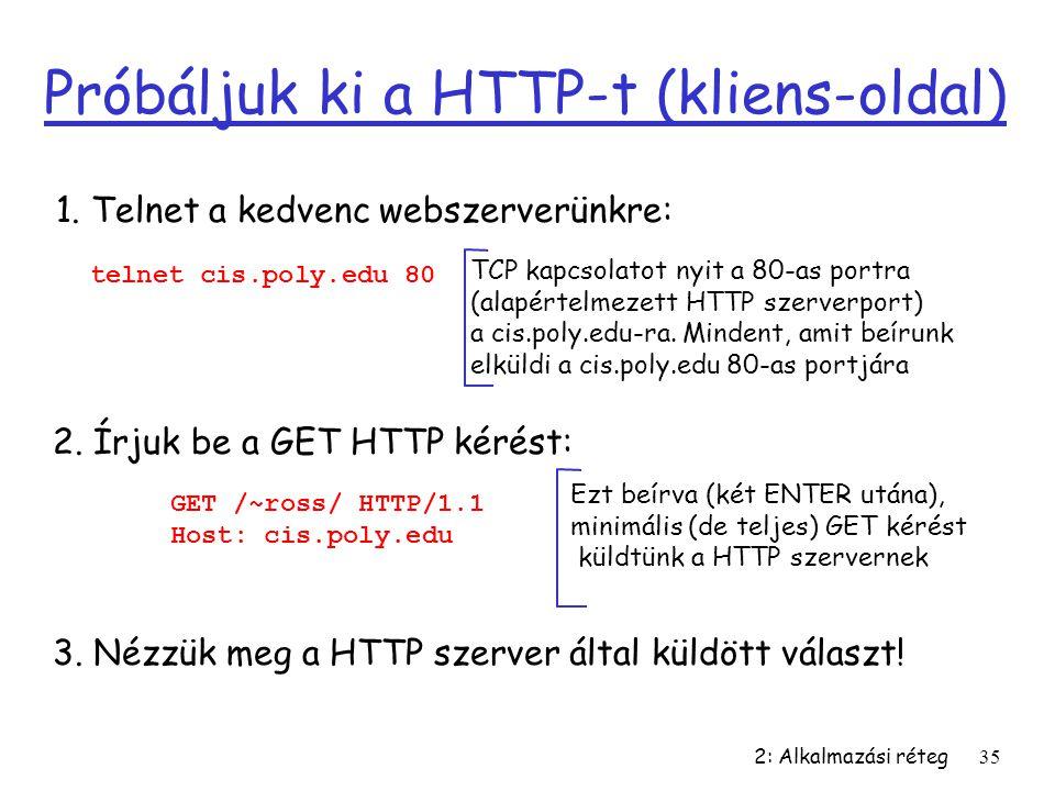 2: Alkalmazási réteg35 Próbáljuk ki a HTTP-t (kliens-oldal) 1. Telnet a kedvenc webszerverünkre: TCP kapcsolatot nyit a 80-as portra (alapértelmezett