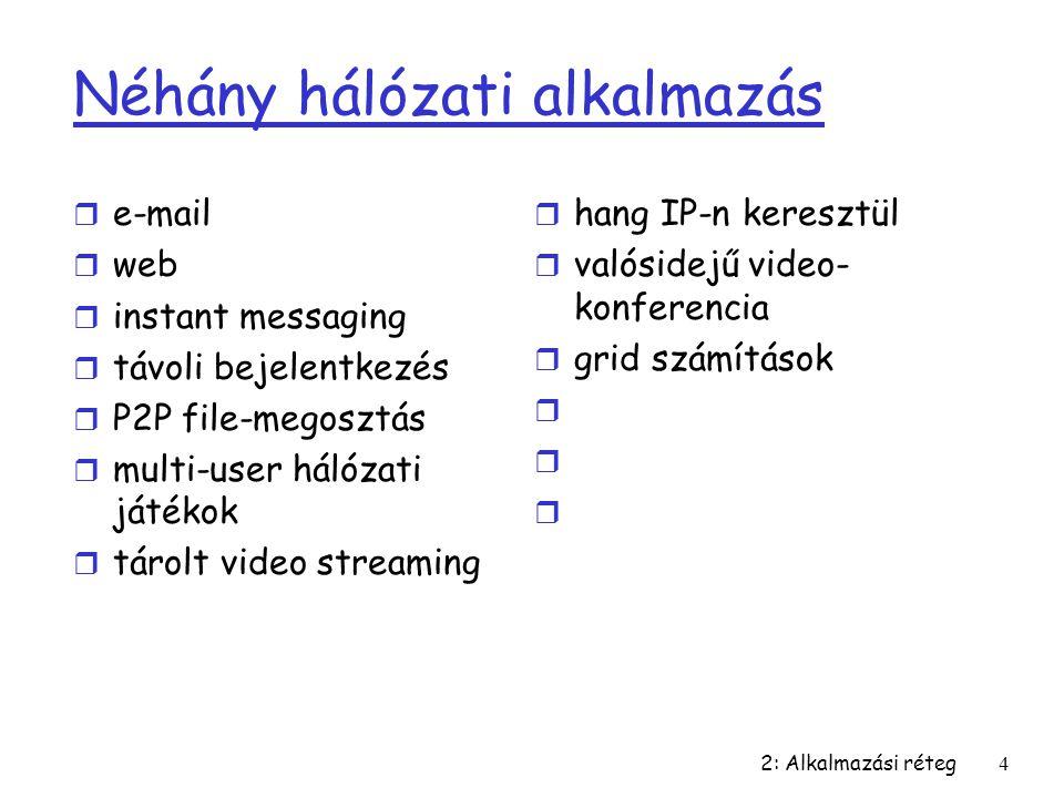 2: Alkalmazási réteg4 Néhány hálózati alkalmazás r e-mail r web r instant messaging r távoli bejelentkezés r P2P file-megosztás r multi-user hálózati
