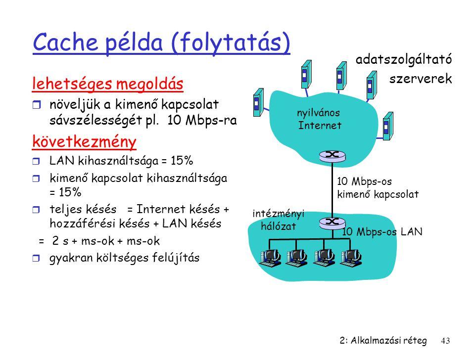 2: Alkalmazási réteg43 Cache példa (folytatás) lehetséges megoldás r növeljük a kimenő kapcsolat sávszélességét pl. 10 Mbps-ra következmény r LAN kiha