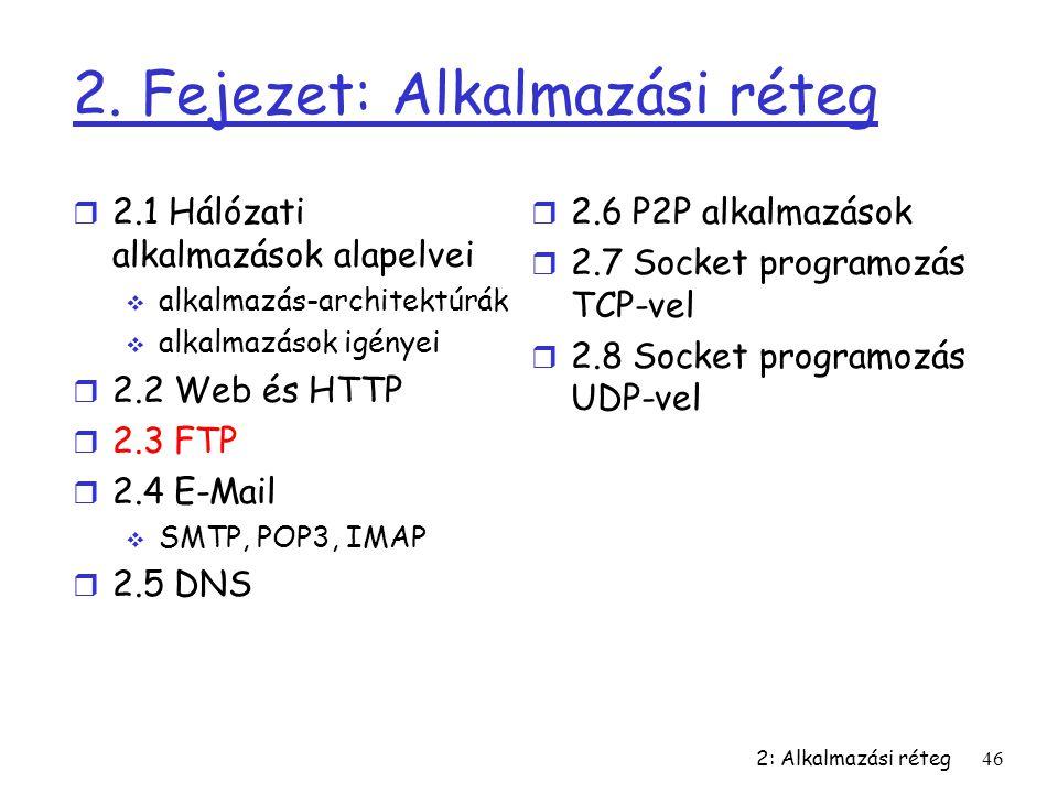 2: Alkalmazási réteg46 2. Fejezet: Alkalmazási réteg r 2.1 Hálózati alkalmazások alapelvei  alkalmazás-architektúrák  alkalmazások igényei r 2.2 Web
