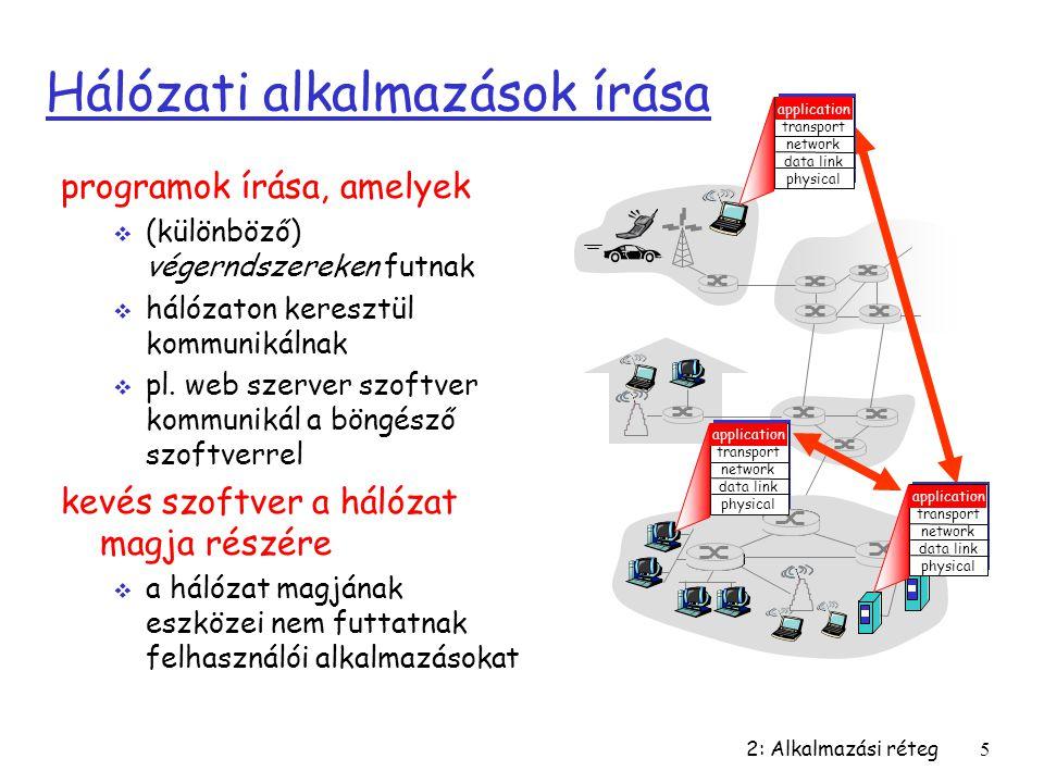 2: Alkalmazási réteg5 Hálózati alkalmazások írása programok írása, amelyek  (különböző) végerndszereken futnak  hálózaton keresztül kommunikálnak 