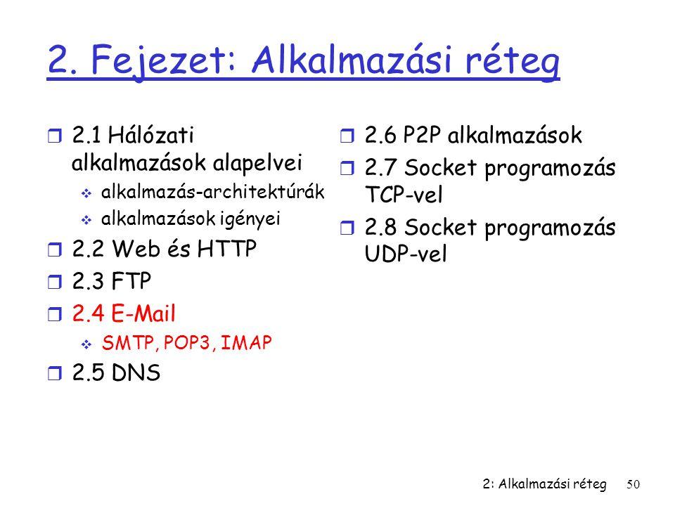 2: Alkalmazási réteg50 2. Fejezet: Alkalmazási réteg r 2.1 Hálózati alkalmazások alapelvei  alkalmazás-architektúrák  alkalmazások igényei r 2.2 Web
