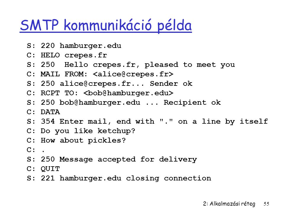2: Alkalmazási réteg55 SMTP kommunikáció példa S: 220 hamburger.edu C: HELO crepes.fr S: 250 Hello crepes.fr, pleased to meet you C: MAIL FROM: S: 250 alice@crepes.fr...