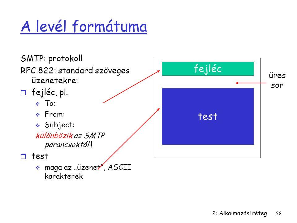 2: Alkalmazási réteg58 A levél formátuma SMTP: protokoll RFC 822: standard szöveges üzenetekre: r fejléc, pl.  To:  From:  Subject: különbözik az S