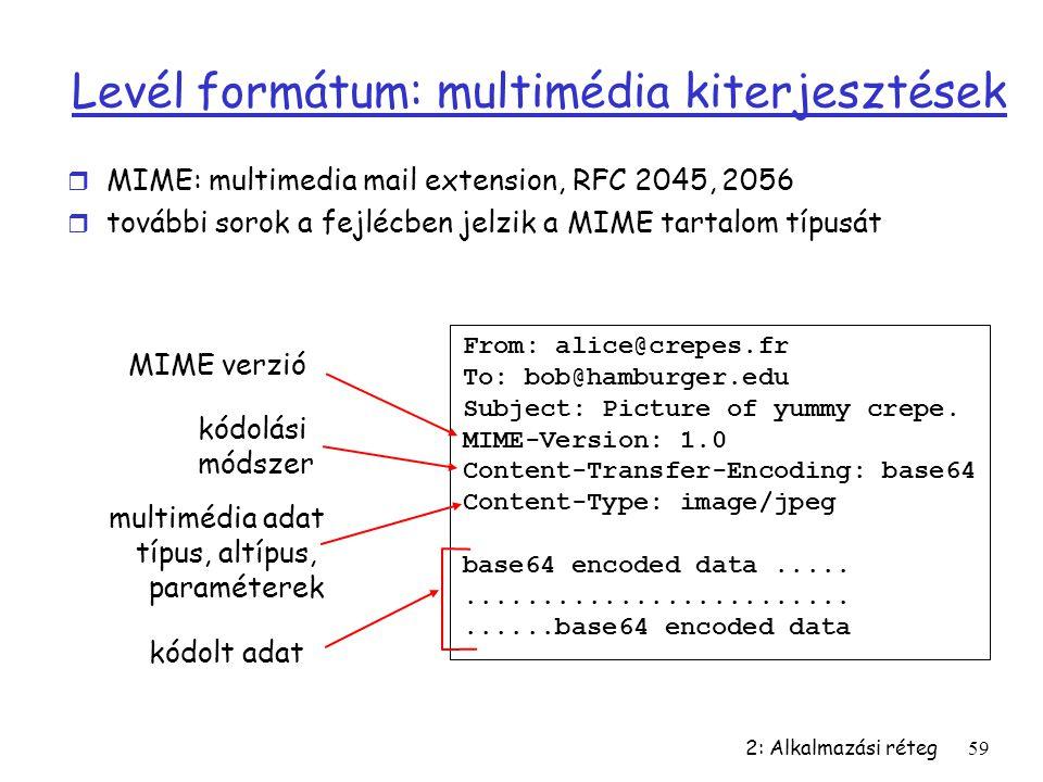 2: Alkalmazási réteg59 Levél formátum: multimédia kiterjesztések r MIME: multimedia mail extension, RFC 2045, 2056 r további sorok a fejlécben jelzik