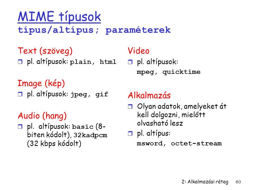 2: Alkalmazási réteg60 MIME típusok típus/altípus; paraméterek Text (szöveg)  pl. altípusok: plain, html Image (kép)  pl. altípusok: jpeg, gif Audio