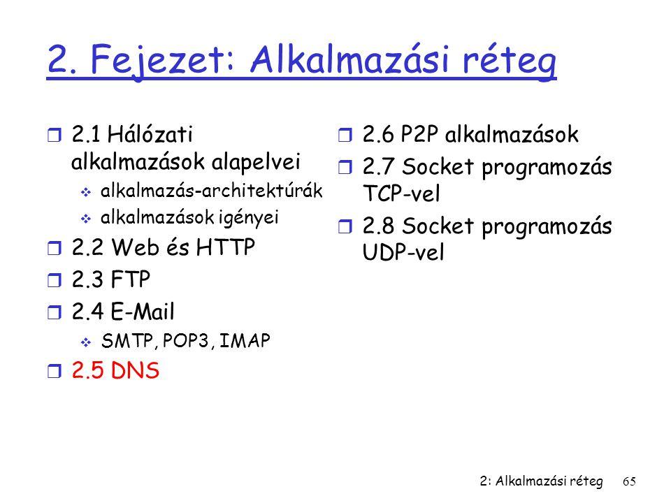 2: Alkalmazási réteg65 2. Fejezet: Alkalmazási réteg r 2.1 Hálózati alkalmazások alapelvei  alkalmazás-architektúrák  alkalmazások igényei r 2.2 Web