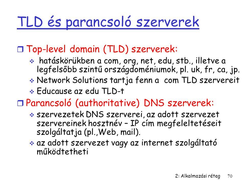 2: Alkalmazási réteg70 TLD és parancsoló szerverek r Top-level domain (TLD) szerverek:  hatáskörükben a com, org, net, edu, stb., illetve a legfelsőb