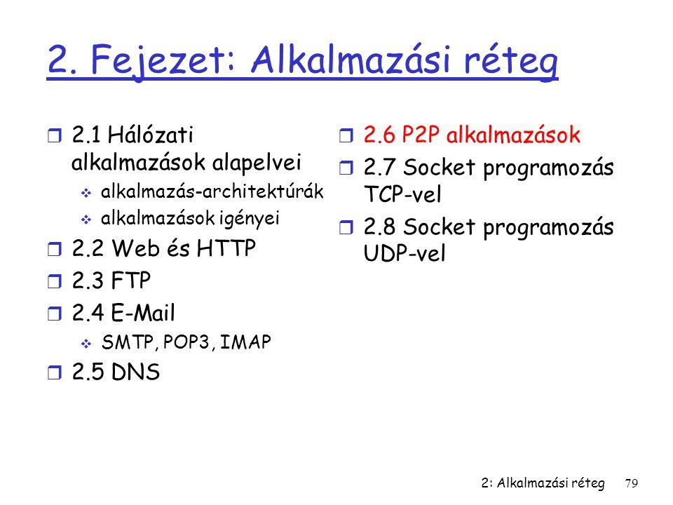 2: Alkalmazási réteg79 2. Fejezet: Alkalmazási réteg r 2.1 Hálózati alkalmazások alapelvei  alkalmazás-architektúrák  alkalmazások igényei r 2.2 Web