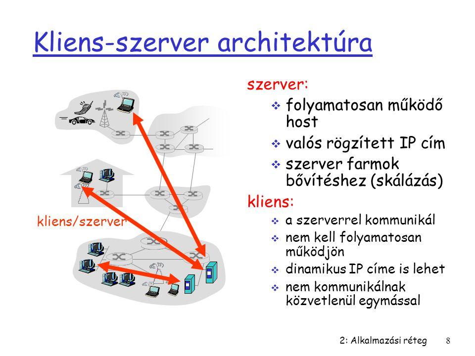 2: Alkalmazási réteg8 Kliens-szerver architektúra szerver:  folyamatosan működő host  valós rögzített IP cím  szerver farmok bővítéshez (skálázás)