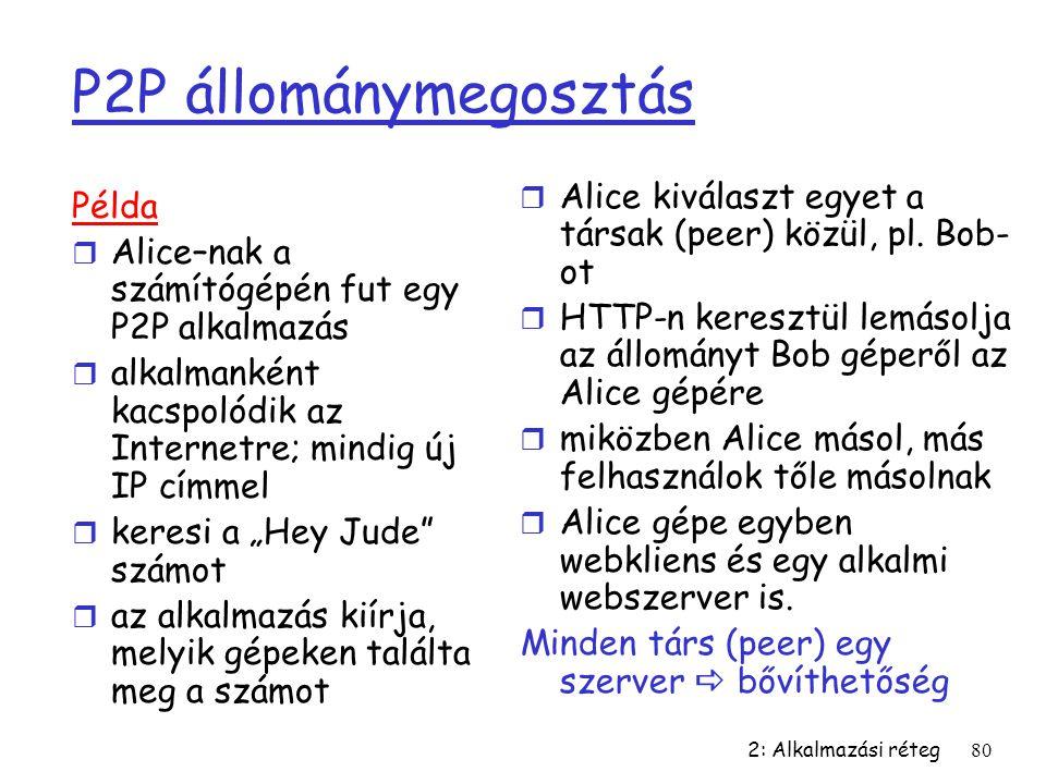 2: Alkalmazási réteg80 P2P állománymegosztás Példa r Alice–nak a számítógépén fut egy P2P alkalmazás r alkalmanként kacspolódik az Internetre; mindig