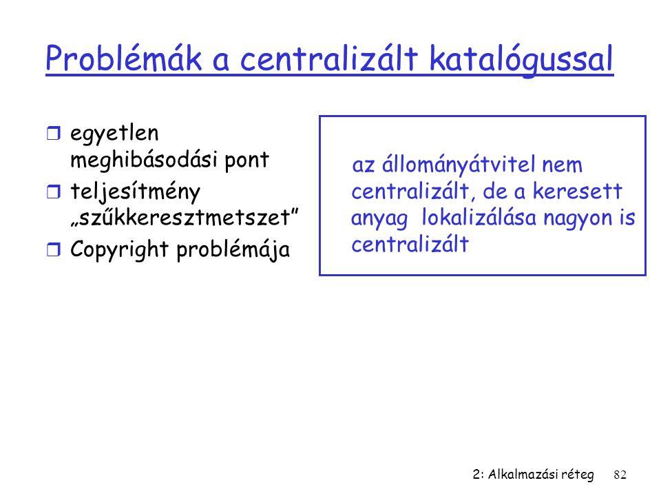 """2: Alkalmazási réteg82 Problémák a centralizált katalógussal r egyetlen meghibásodási pont r teljesítmény """"szűkkeresztmetszet"""" r Copyright problémája"""
