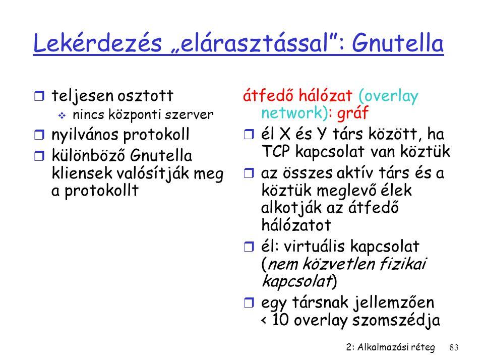 """2: Alkalmazási réteg83 Lekérdezés """"elárasztással"""": Gnutella r teljesen osztott  nincs központi szerver r nyilvános protokoll r különböző Gnutella kli"""