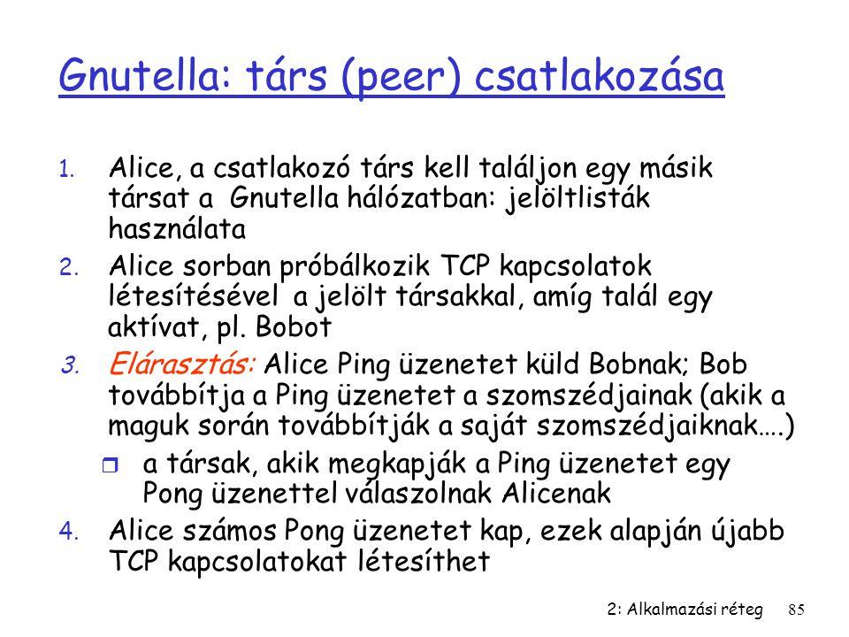 2: Alkalmazási réteg85 Gnutella: társ (peer) csatlakozása 1. Alice, a csatlakozó társ kell találjon egy másik társat a Gnutella hálózatban: jelöltlist