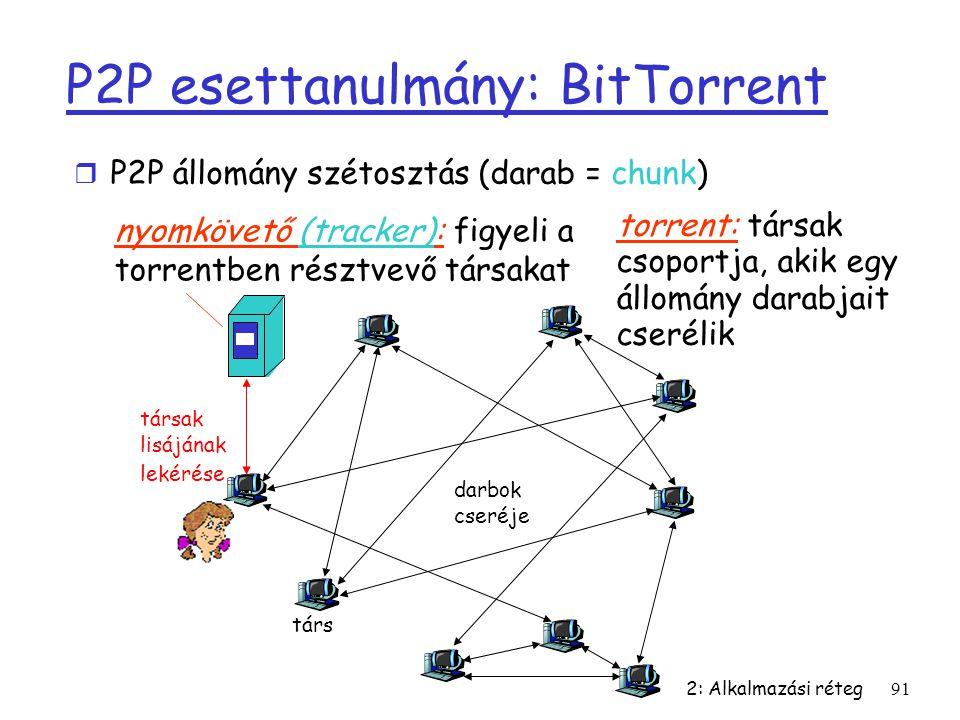 2: Alkalmazási réteg91 P2P esettanulmány: BitTorrent nyomkövető (tracker): figyeli a torrentben résztvevő társakat torrent: társak csoportja, akik egy