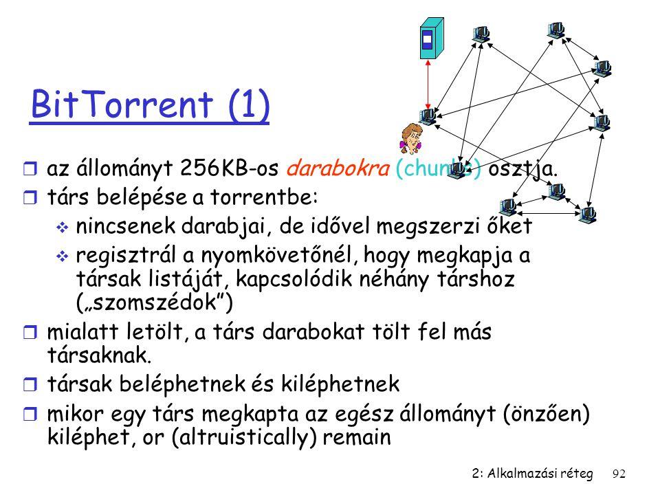 2: Alkalmazási réteg92 BitTorrent (1) r az állományt 256KB-os darabokra (chunks) osztja. r társ belépése a torrentbe:  nincsenek darabjai, de idővel