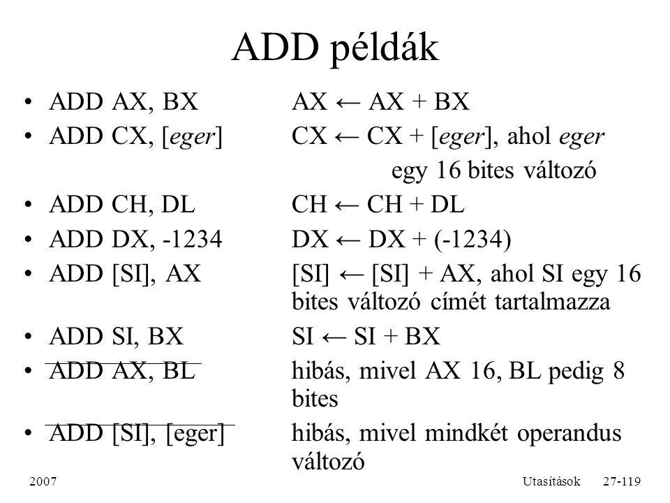 2007Utasítások27-119 ADD példák ADD AX, BXAX ← AX + BX ADD CX, [eger]CX ← CX + [eger], ahol eger egy 16 bites változó ADD CH, DLCH ← CH + DL ADD DX, -