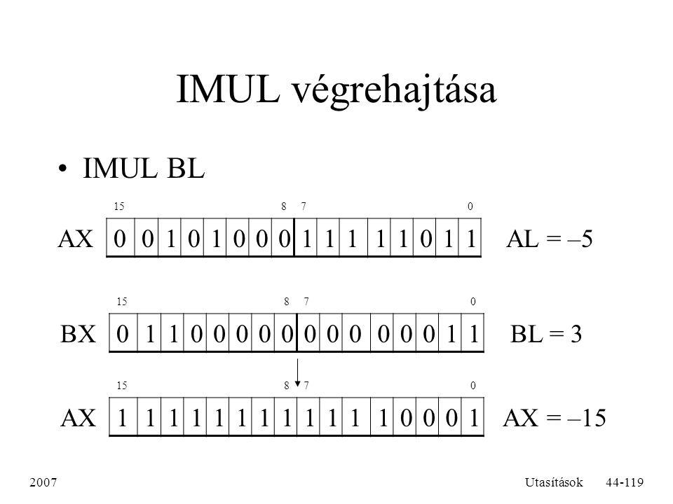 2007Utasítások44-119 IMUL végrehajtása IMUL BL 15 87 0 AX0010100011111011 AL = –5 15 87 0 BXBX0110000000000011 BL = 3 15 87 0 AX1111111111110001 AX =