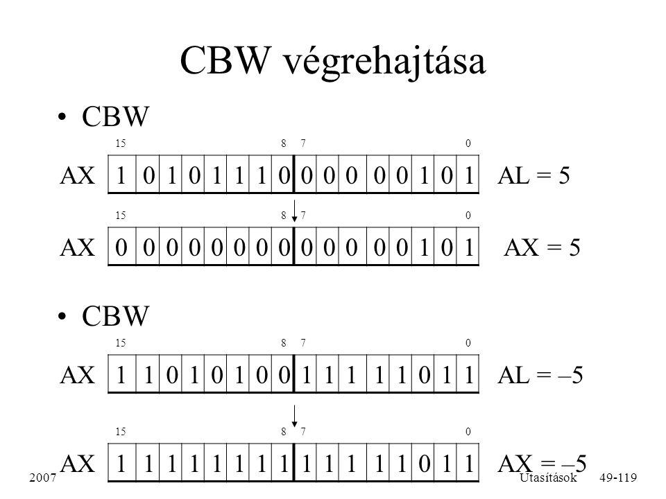2007Utasítások49-119 CBW végrehajtása CBW 15 87 0 AX1010111000000101 AL = 5 15 87 0 AX0000000000000101 AX = 5 15 87 0 AX1101010011111011 AL = –5 15 87
