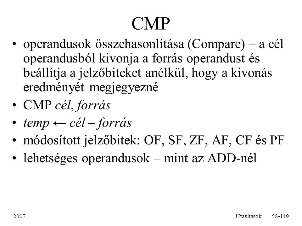 2007Utasítások58-119 CMP operandusok összehasonlítása (Compare) – a cél operandusból kivonja a forrás operandust és beállítja a jelzőbiteket anélkül,
