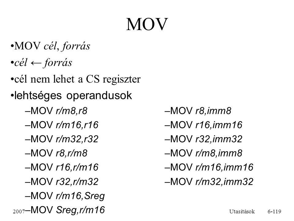 2007Utasítások7-119 MOV példák MOV AX, BXAX ← BX MOV CX, [eger]CX ← [eger], ahol eger egy 16 bites változó MOV AL, -5AL ← -5 MOV CH, [BX + SI]CH ← [BX + SI] MOV DX, CSDX ← CS MOV AX, CLhibás, mivel AX 16, CL pedig 8 bites MOV [BX], [DI]hibás, mivel mindkét operandus változó MOV [BX + 10], 123hibás, mivel nem lehet eldönteni, hogy 8 vagy 16 bitesek az operandusok; egy helyes változata például a következő: MOV WORD [BX + 10], 123[BX + 10] ← 123; 16 bites op.