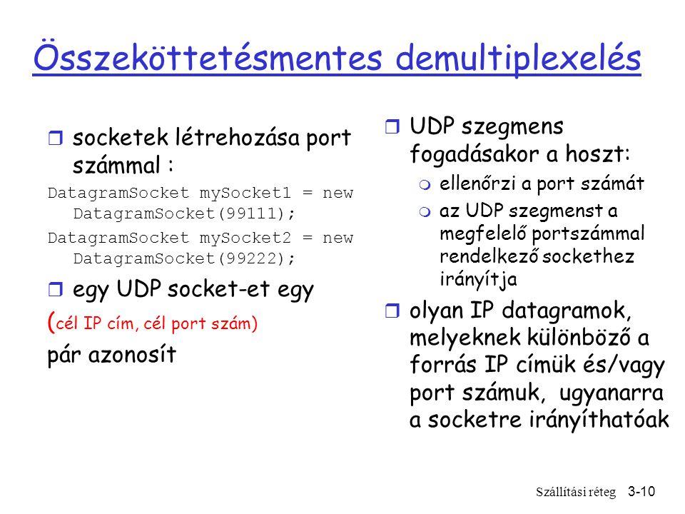 Szállítási réteg3-10 Összeköttetésmentes demultiplexelés r socketek létrehozása port számmal : DatagramSocket mySocket1 = new DatagramSocket(99111); DatagramSocket mySocket2 = new DatagramSocket(99222); r egy UDP socket-et egy ( cél IP cím, cél port szám) pár azonosít r UDP szegmens fogadásakor a hoszt: m ellenőrzi a port számát m az UDP szegmenst a megfelelő portszámmal rendelkező sockethez irányítja r olyan IP datagramok, melyeknek különböző a forrás IP címük és/vagy port számuk, ugyanarra a socketre irányíthatóak