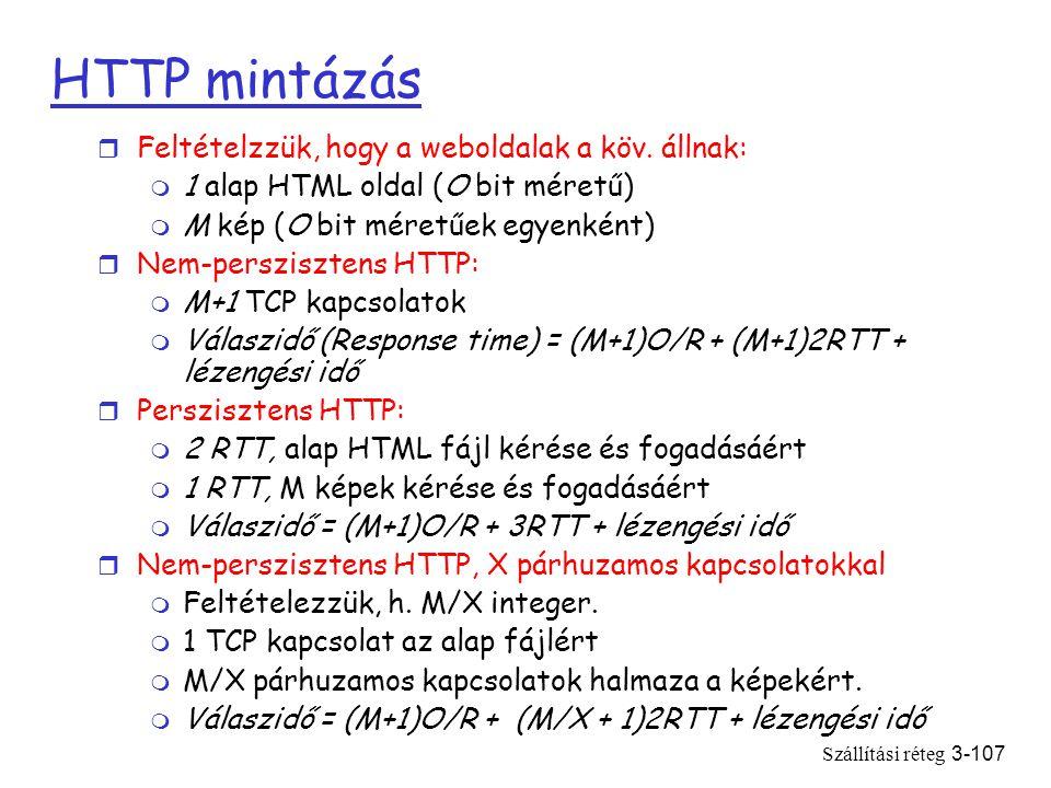 Szállítási réteg3-107 HTTP mintázás r Feltételzzük, hogy a weboldalak a köv.