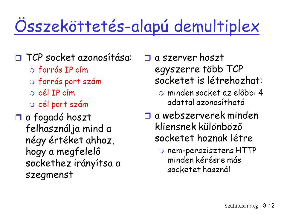 Szállítási réteg3-12 Összeköttetés-alapú demultiplex r TCP socket azonosítása: m forrás IP cím m forrás port szám m cél IP cím m cél port szám r a fogadó hoszt felhasználja mind a négy értéket ahhoz, hogy a megfelelő sockethez irányítsa a szegmenst r a szerver hoszt egyszerre több TCP socketet is létrehozhat: m minden socket az előbbi 4 adattal azonosítható r a webszerverek minden kliensnek különböző socketet hoznak létre m nem-perszisztens HTTP minden kérésre más socketet használ