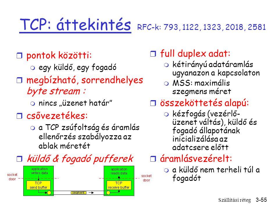 """Szállítási réteg3-55 TCP: áttekintés RFC-k: 793, 1122, 1323, 2018, 2581 r full duplex adat: m kétirányú adatáramlás ugyanazon a kapcsolaton m MSS: maximális szegmens méret r összeköttetés alapú: m kézfogás (vezérlő- üzenet váltás), küldő és fogadó állapotának inicializálása az adatcsere előtt r áramlásvezérelt: m a küldő nem terheli túl a fogadót r pontok közötti: m egy küldő, egy fogadó r megbízható, sorrendhelyes byte stream : m nincs """"üzenet határ r csővezetékes: m a TCP zsúfoltság és áramlás ellenőrzés szabályozza az ablak méretét r küldő & fogadó pufferek"""
