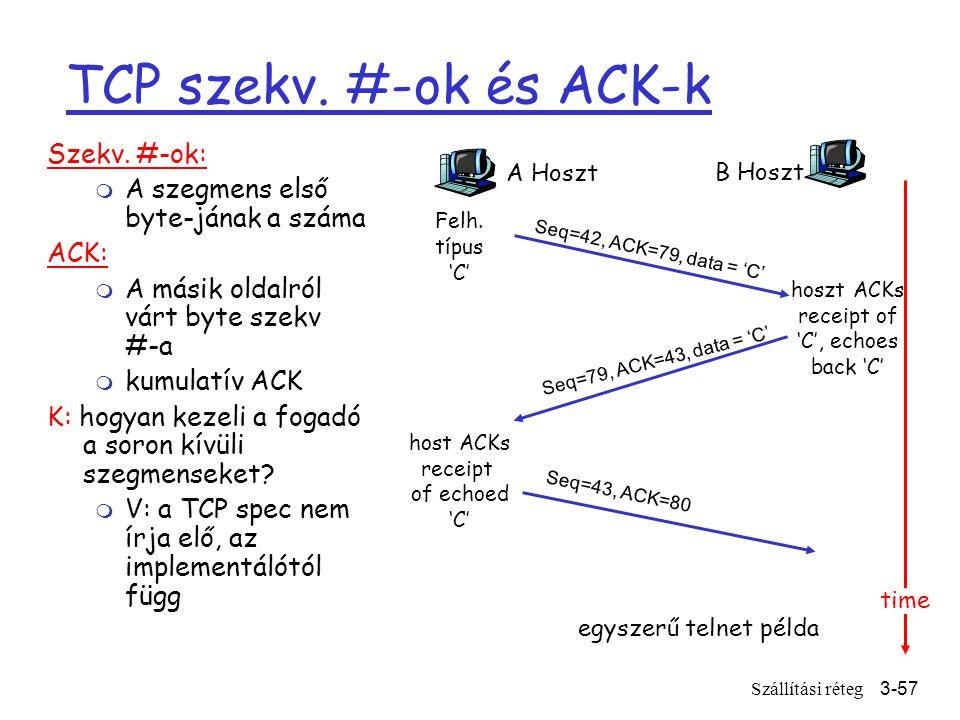 Szállítási réteg3-57 TCP szekv. #-ok és ACK-k Szekv.