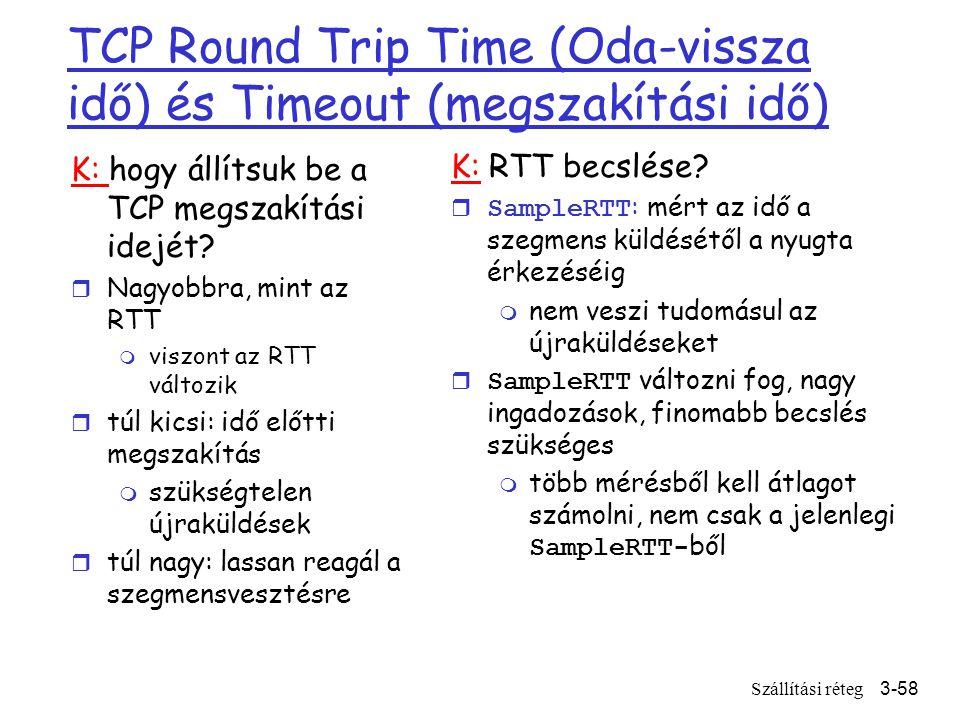 Szállítási réteg3-58 TCP Round Trip Time (Oda-vissza idő) és Timeout (megszakítási idő) K: hogy állítsuk be a TCP megszakítási idejét.