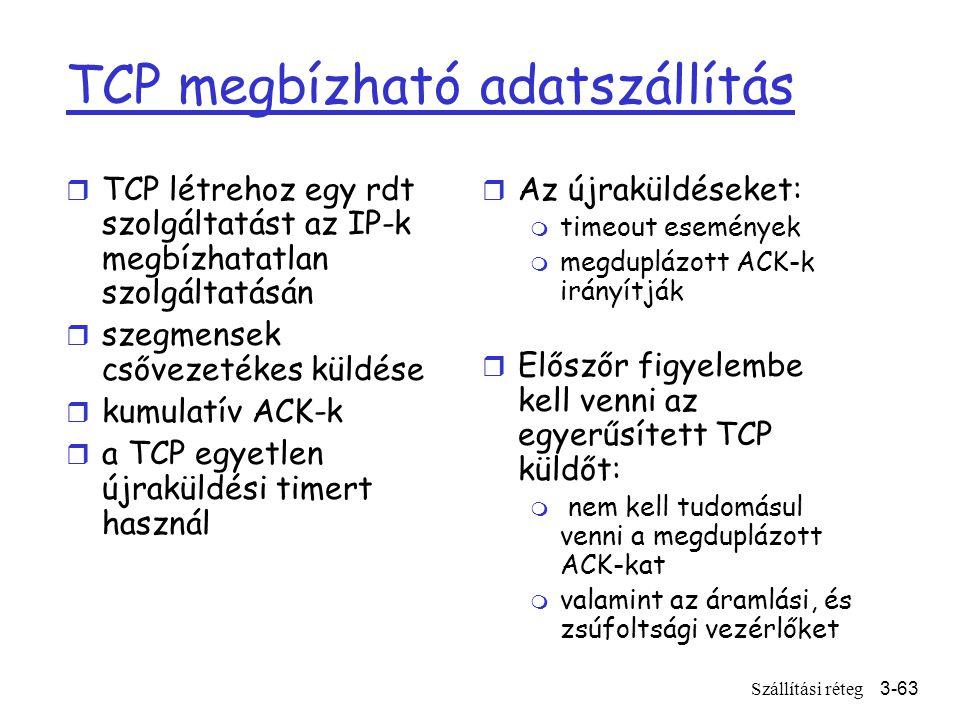 Szállítási réteg3-63 TCP megbízható adatszállítás r TCP létrehoz egy rdt szolgáltatást az IP-k megbízhatatlan szolgáltatásán r szegmensek csővezetékes küldése r kumulatív ACK-k r a TCP egyetlen újraküldési timert használ r Az újraküldéseket: m timeout események m megduplázott ACK-k irányítják r Előszőr figyelembe kell venni az egyerűsített TCP küldőt: m nem kell tudomásul venni a megduplázott ACK-kat m valamint az áramlási, és zsúfoltsági vezérlőket