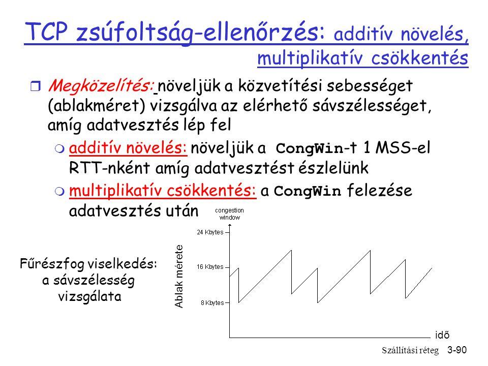 Szállítási réteg3-90 TCP zsúfoltság-ellenőrzés: additív növelés, multiplikatív csökkentés idő Ablak mérete Fűrészfog viselkedés: a sávszélesség vizsgálata r Megközelítés: növeljük a közvetítési sebességet (ablakméret) vizsgálva az elérhető sávszélességet, amíg adatvesztés lép fel  additív növelés: növeljük a CongWin -t 1 MSS-el RTT-nként amíg adatvesztést észlelünk  multiplikatív csökkentés: a CongWin felezése adatvesztés után