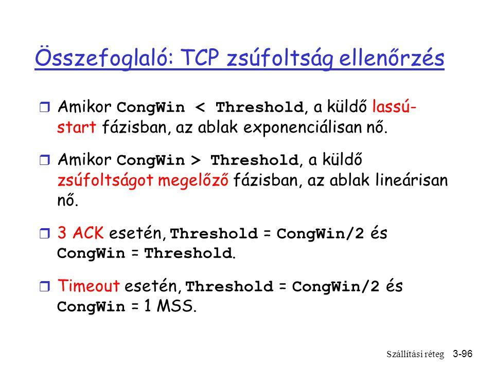 Szállítási réteg3-96 Összefoglaló: TCP zsúfoltság ellenőrzés  Amikor CongWin < Threshold, a küldő lassú- start fázisban, az ablak exponenciálisan nő.