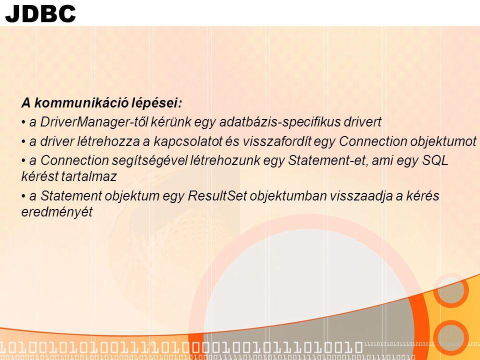 "JDBC - példa import java.sql.*; public class SimpleJDBC{ public static void main( String args[]){ try{ Class.forName( sun.jdbc.odbc.JdbcOdbcDriver ); String databaseName = jdbc:odbc:Inventory ; Connection con = DriverManager.getConnection( databaseName, username , password ); Statement stmt = con.createStatement(); ResultSet rs = stmt.executeQuery( select * from Inventory ); while( rs.next()){ System.out.println(rs.getString(1)+ : +rs.getFloat(2)); } } catch( Exception e ){ e.printStackTrace(); } } NévTípusHossz NAMEszöveg40 QUANTITYvalós20 Inventory.mdb(Access DB) setup data source ""két szintes alkalmazás"