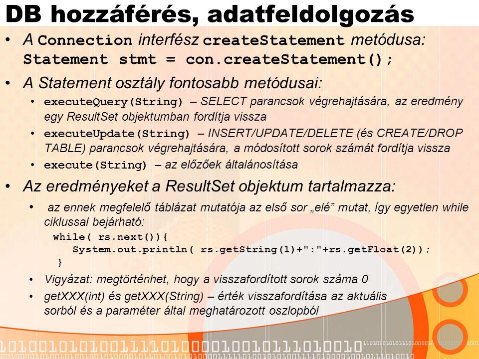 SQL - Java típusok megfeleltetése SQL típusJAVA típusMetódus CHARStringgetString() VARCHARStringgetString() LONGVARCHARStringgetString() NUMERICjava.math.BigDecimalgetBigDecimal() DECIMALjava.math.BigDecimalgetBigDecimal() BITbooleangetBoolean() TINYINTbytegetByte() SMALLINTshortgetShort() INTEGERintgetInt() BIGINTlonggetLong() REALfloatgetFloat() DOUBLEdoublegetDouble() BINARYbyte[]getBytes() VARBINARYbyte[]getBytes() LONGVARBINARYbyte[]getBytes() DATEjava.sql.DategetDate() TIMEjava.sql.TimegetTime() TIMESTAMPjava.sql.TimestampgetTimestamp()