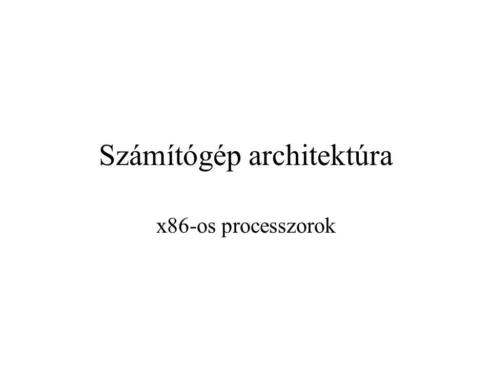 2007x86-os processzorok2-17 A processzor felépítése (8086) Vérehajtó egység (EU): regiszterek, vezérlő egység (CU), aritmetikai logikai egység (ALU) – az utasítások végrehajtása Sín illesztő egység (Bus interface unit – BIU): behozza az utasításokat a EU-ba, kezeli a szegmensregisztereket és az utasítássort A két egység egymástól függetlenül, aszinkron működik
