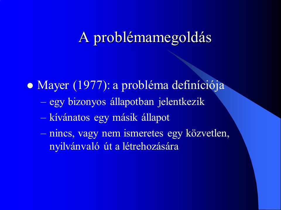 A problémamegoldás Mayer (1977): a probléma definíciója –egy bizonyos állapotban jelentkezik –kívánatos egy másik állapot –nincs, vagy nem ismeretes egy közvetlen, nyilvánvaló út a létrehozására