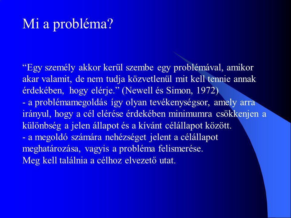 """Mi a probléma? """"Egy személy akkor kerül szembe egy problémával, amikor akar valamit, de nem tudja közvetlenül mit kell tennie annak érdekében, hogy el"""
