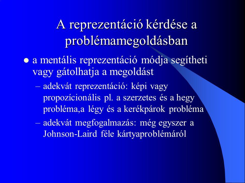 A reprezentáció kérdése a problémamegoldásban a mentális reprezentáció módja segítheti vagy gátolhatja a megoldást –adekvát reprezentáció: képi vagy propozícionális pl.