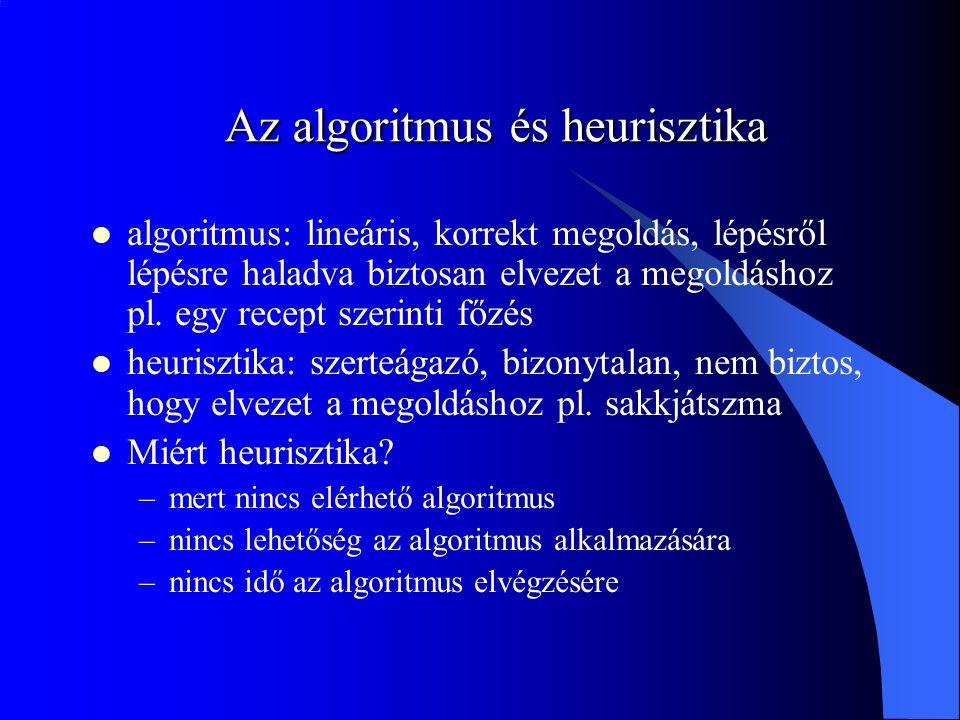 Az algoritmus és heurisztika algoritmus: lineáris, korrekt megoldás, lépésről lépésre haladva biztosan elvezet a megoldáshoz pl. egy recept szerinti f