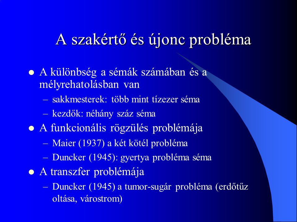 A szakértő és újonc probléma A különbség a sémák számában és a mélyrehatolásban van –sakkmesterek: több mint tízezer séma –kezdők: néhány száz séma A funkcionális rögzülés problémája –Maier (1937) a két kötél probléma –Duncker (1945): gyertya probléma séma A transzfer problémája –Duncker (1945) a tumor-sugár probléma (erdőtűz oltása, várostrom)