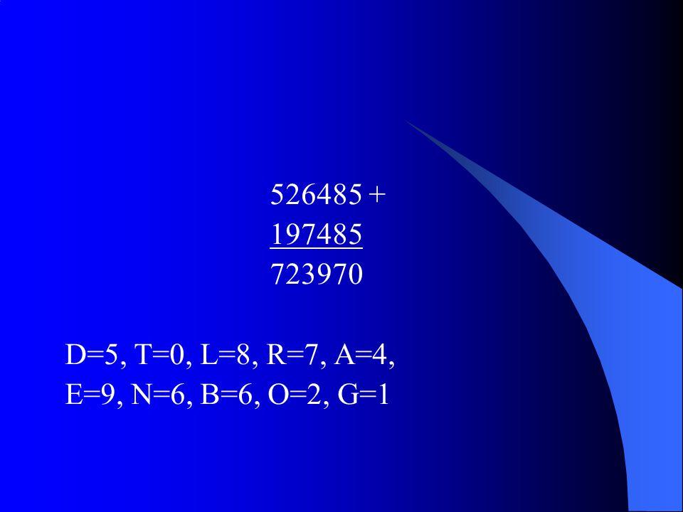 526485 + 197485 723970 D=5, T=0, L=8, R=7, A=4, E=9, N=6, B=6, O=2, G=1